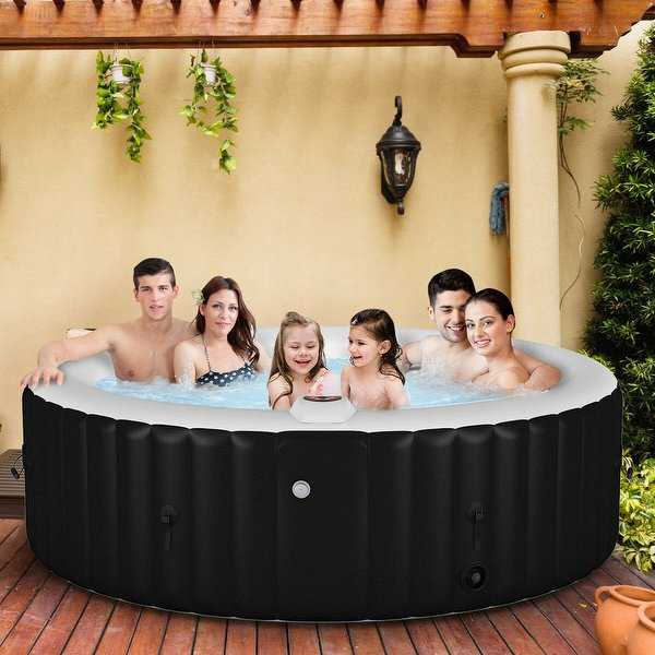 Portable Inflatable Bubble Massage Spa Hot Tub 6 Person - Black