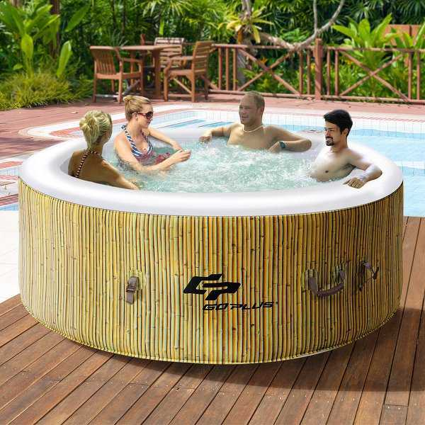 Goplus 4 Person Inflatable Hot Tub Jets Bubble Massage Spa - as pic
